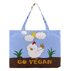 Go Vegan   Cute Chick  Medium Tote Bag by Valentinaart