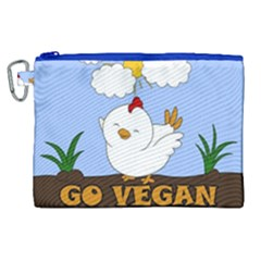 Go Vegan   Cute Chick  Canvas Cosmetic Bag (xl)