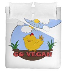 Go Vegan   Cute Chick  Duvet Cover Double Side (queen Size) by Valentinaart