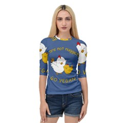 Go Vegan   Cute Chick  Quarter Sleeve Raglan Tee