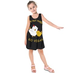 Go Vegan   Cute Chick  Kids  Sleeveless Dress by Valentinaart