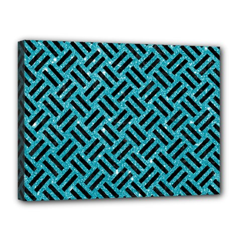 Woven2 Black Marble & Turquoise Glitter Canvas 16  X 12  by trendistuff