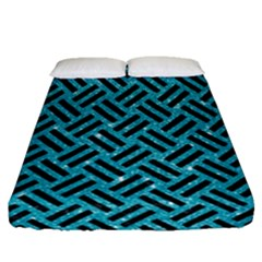 Woven2 Black Marble & Turquoise Glitter Fitted Sheet (queen Size) by trendistuff