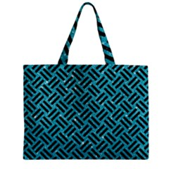 Woven2 Black Marble & Turquoise Glitter Zipper Mini Tote Bag by trendistuff