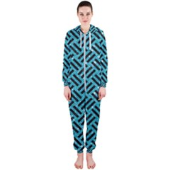 Woven2 Black Marble & Turquoise Glitter Hooded Jumpsuit (ladies)