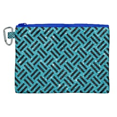 Woven2 Black Marble & Turquoise Glitter Canvas Cosmetic Bag (xl)