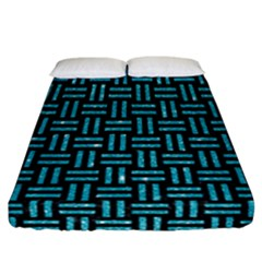 Woven1 Black Marble & Turquoise Glitter (r) Fitted Sheet (california King Size) by trendistuff