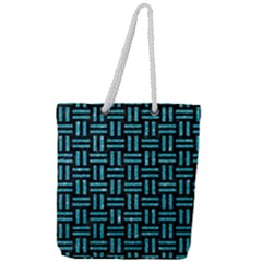 Woven1 Black Marble & Turquoise Glitter (r) Full Print Rope Handle Tote (large)