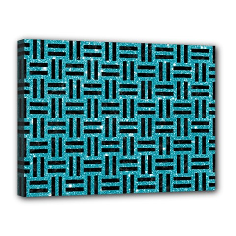 Woven1 Black Marble & Turquoise Glitter Canvas 16  X 12  by trendistuff