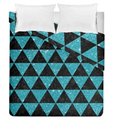 Triangle3 Black Marble & Turquoise Glitter Duvet Cover Double Side (queen Size) by trendistuff