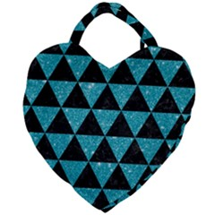 Triangle3 Black Marble & Turquoise Glitter Giant Heart Shaped Tote by trendistuff