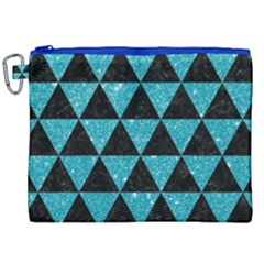 Triangle3 Black Marble & Turquoise Glitter Canvas Cosmetic Bag (xxl) by trendistuff