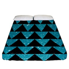 Triangle2 Black Marble & Turquoise Glittertriangle2 Black Marble & Turquoise Glitter Fitted Sheet (california King Size)