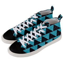 Triangle2 Black Marble & Turquoise Glittertriangle2 Black Marble & Turquoise Glitter Men s Mid Top Canvas Sneakers by trendistuff