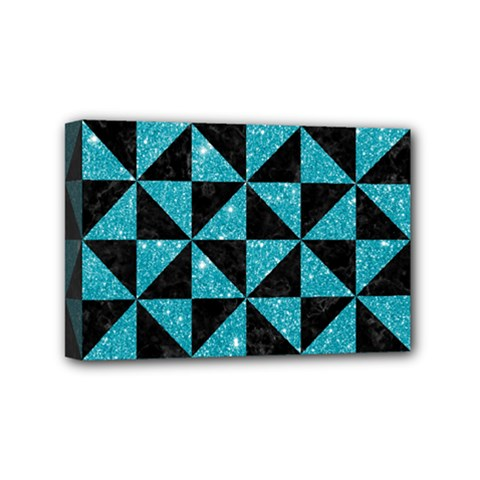 Triangle1 Black Marble & Turquoise Glitter Mini Canvas 6  X 4