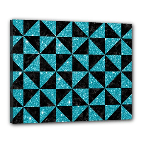 Triangle1 Black Marble & Turquoise Glitter Canvas 20  X 16  by trendistuff