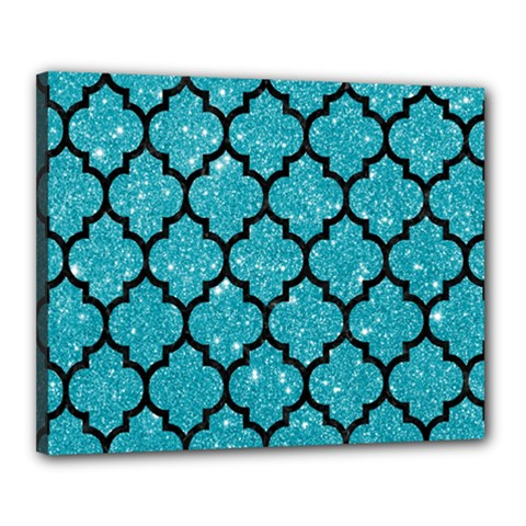 Tile1 Black Marble & Turquoise Glitter Canvas 20  X 16  by trendistuff