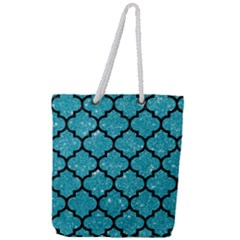 Tile1 Black Marble & Turquoise Glitter Full Print Rope Handle Tote (large) by trendistuff