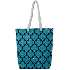 Tile1 Black Marble & Turquoise Glitter Full Print Rope Handle Tote (small)