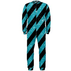 Stripes3 Black Marble & Turquoise Glitter (r) Onepiece Jumpsuit (men)