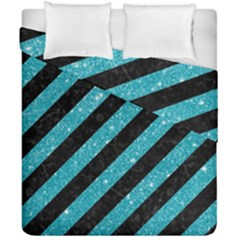 Stripes3 Black Marble & Turquoise Glitter (r) Duvet Cover Double Side (california King Size) by trendistuff