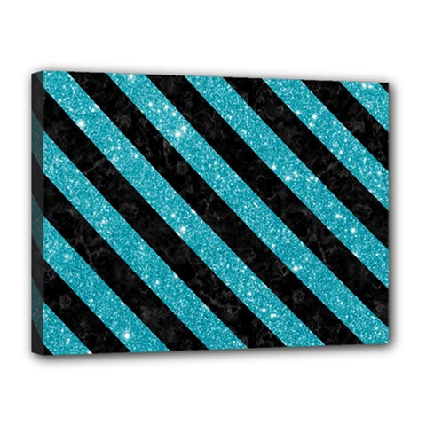 Stripes3 Black Marble & Turquoise Glitter Canvas 16  X 12  by trendistuff