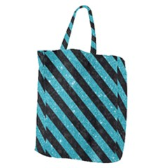 Stripes3 Black Marble & Turquoise Glitter Giant Grocery Zipper Tote by trendistuff