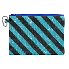 Stripes3 Black Marble & Turquoise Glitter Canvas Cosmetic Bag (xl) by trendistuff
