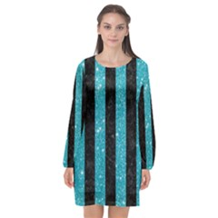 Stripes1 Black Marble & Turquoise Glitter Long Sleeve Chiffon Shift Dress  by trendistuff