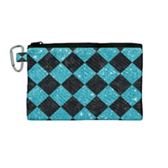 Square2 Black Marble & Turquoise Glitter Canvas Cosmetic Bag (medium) by trendistuff