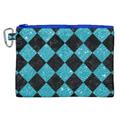 Square2 Black Marble & Turquoise Glitter Canvas Cosmetic Bag (xl) by trendistuff