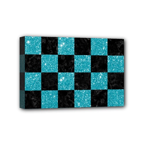 Square1 Black Marble & Turquoise Glitter Mini Canvas 6  X 4  by trendistuff