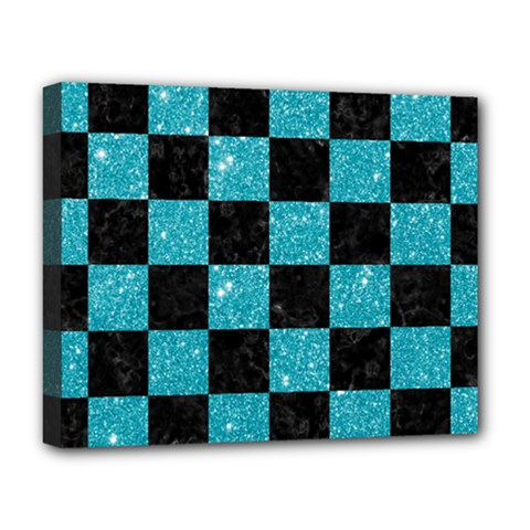Square1 Black Marble & Turquoise Glitter Deluxe Canvas 20  X 16   by trendistuff