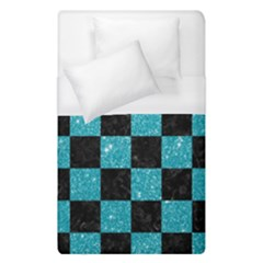 Square1 Black Marble & Turquoise Glitter Duvet Cover (single Size) by trendistuff