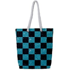 Square1 Black Marble & Turquoise Glitter Full Print Rope Handle Tote (small) by trendistuff