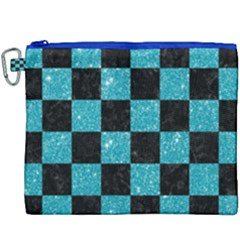Square1 Black Marble & Turquoise Glitter Canvas Cosmetic Bag (xxxl) by trendistuff