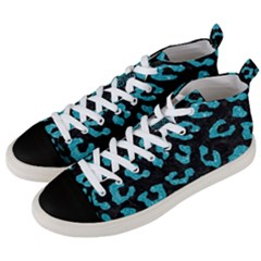 Skin5 Black Marble & Turquoise Glitter Men s Mid Top Canvas Sneakers by trendistuff