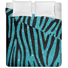 Skin4 Black Marble & Turquoise Glitter (r) Duvet Cover Double Side (california King Size) by trendistuff