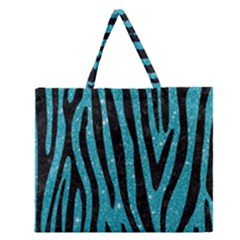 Skin4 Black Marble & Turquoise Glitter (r) Zipper Large Tote Bag