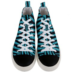 Skin4 Black Marble & Turquoise Glitter (r) Men s Mid Top Canvas Sneakers