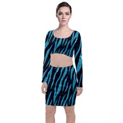 Skin3 Black Marble & Turquoise Glitter (r) Long Sleeve Crop Top & Bodycon Skirt Set