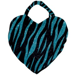 Skin3 Black Marble & Turquoise Glitter (r) Giant Heart Shaped Tote