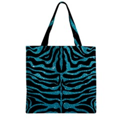 Skin2 Black Marble & Turquoise Glitter (r) Zipper Grocery Tote Bag by trendistuff