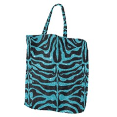 Skin2 Black Marble & Turquoise Glitter (r) Giant Grocery Zipper Tote by trendistuff