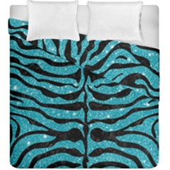 Skin2 Black Marble & Turquoise Glitter Duvet Cover Double Side (king Size) by trendistuff