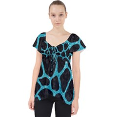 Skin1 Black Marble & Turquoise Glitter Lace Front Dolly Top