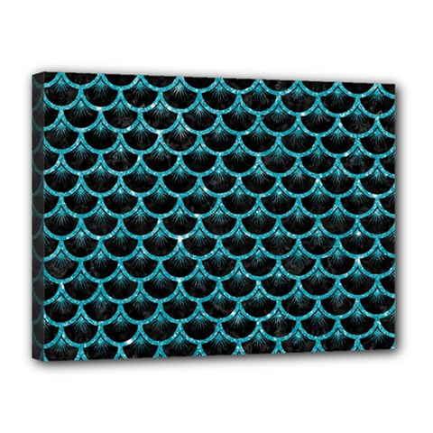 Scales3 Black Marble & Turquoise Glitter (r) Canvas 16  X 12  by trendistuff