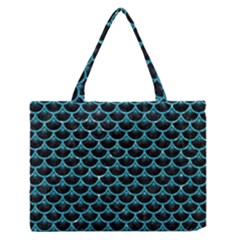 Scales3 Black Marble & Turquoise Glitter (r) Zipper Medium Tote Bag by trendistuff