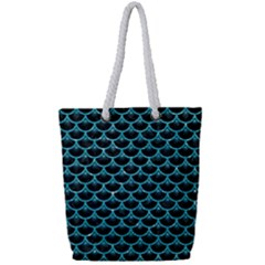 Scales3 Black Marble & Turquoise Glitter (r) Full Print Rope Handle Tote (small) by trendistuff