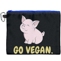 Go Vegan - Cute Pig Canvas Cosmetic Bag (xxxl) by Valentinaart